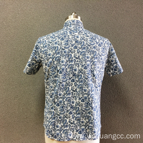 Men's cotton blue printed short sleeves shirt